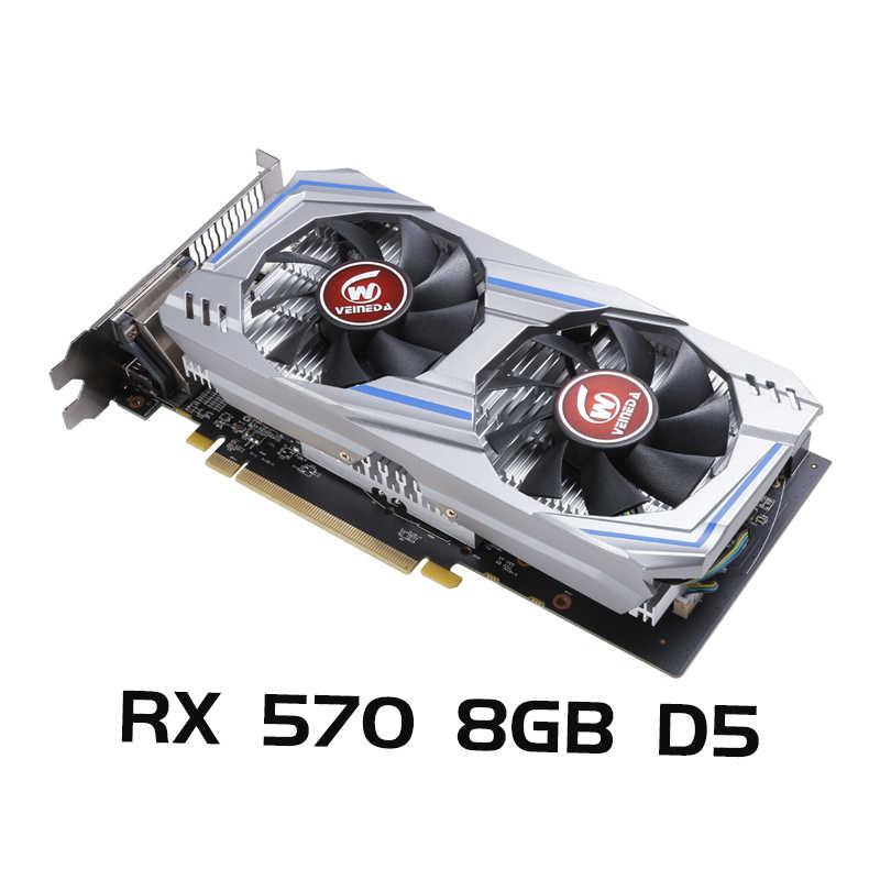 VEINEDA グラフィックスカード rx 570 8 ギガバイトデスクトップ pc ゲーム 256Bit GDDR5 ビデオカード rx 570 8 ギガバイトよりも強い gtx 960 、 gtx 1050TI