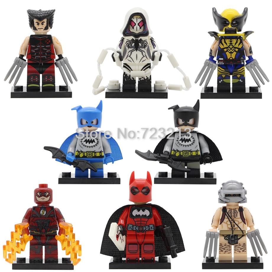 PG8147 Super Hero Spider Gwen Figure Wolverine The Flash Batman Model Deapool Batman Building Blocks Toys Legoing