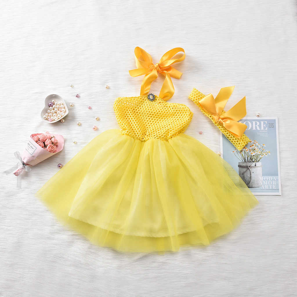 Newborn Baby Party Dress Yellow Baby Girl Dance Suspenders Dresses Tutu Gauze Princess Dress Headbands Set robe princesse fille
