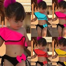Купальный костюм из двух предметов для маленьких девочек летняя детская одежда для купания, спортивное бикини, купальный костюм для пляжа