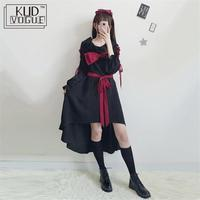 Women Vintage Ruffles Gothic Lolita Dress Dark Girl Bow Tie Dress Kawaii Core Black Bandage Long Sleeve loli Op Dresses Japan