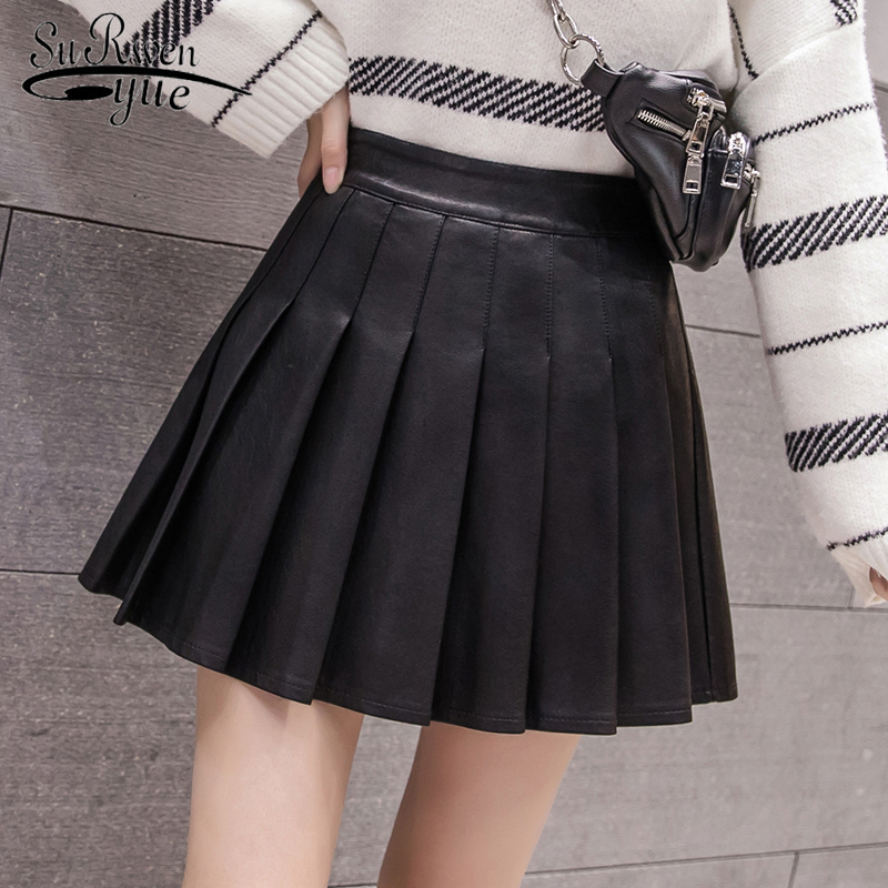 Pleated Leather Skirt 2019 New Autumn Solid Color High Waist A-Line Women Skirt College Style PU Leather Mini Skirt 8152 50