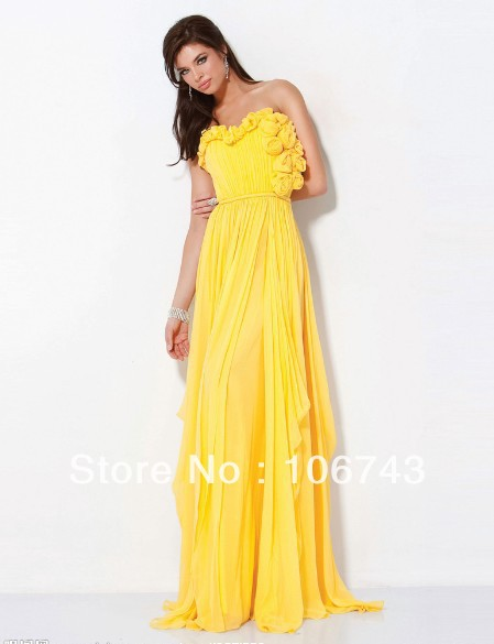 free shipping 2016 new design vestido Formal robe de soiree Elegant yellow long flowers evening party prom gown Homecoming Dress