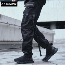2020 Ribbons Cargo Pants Men Black Pocket Streetwear Harajuk