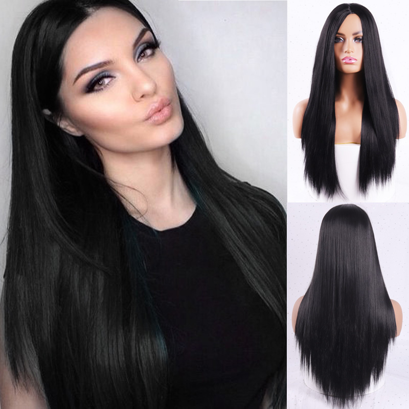 H5e3c4a5ef36a4d078389d66a1e6a9a15J - Linghang Ombre Blue Straight Long Synthetic Wigs For Women Black Pink Wigs 24 inch 11 Color can be Cosplay Wigs