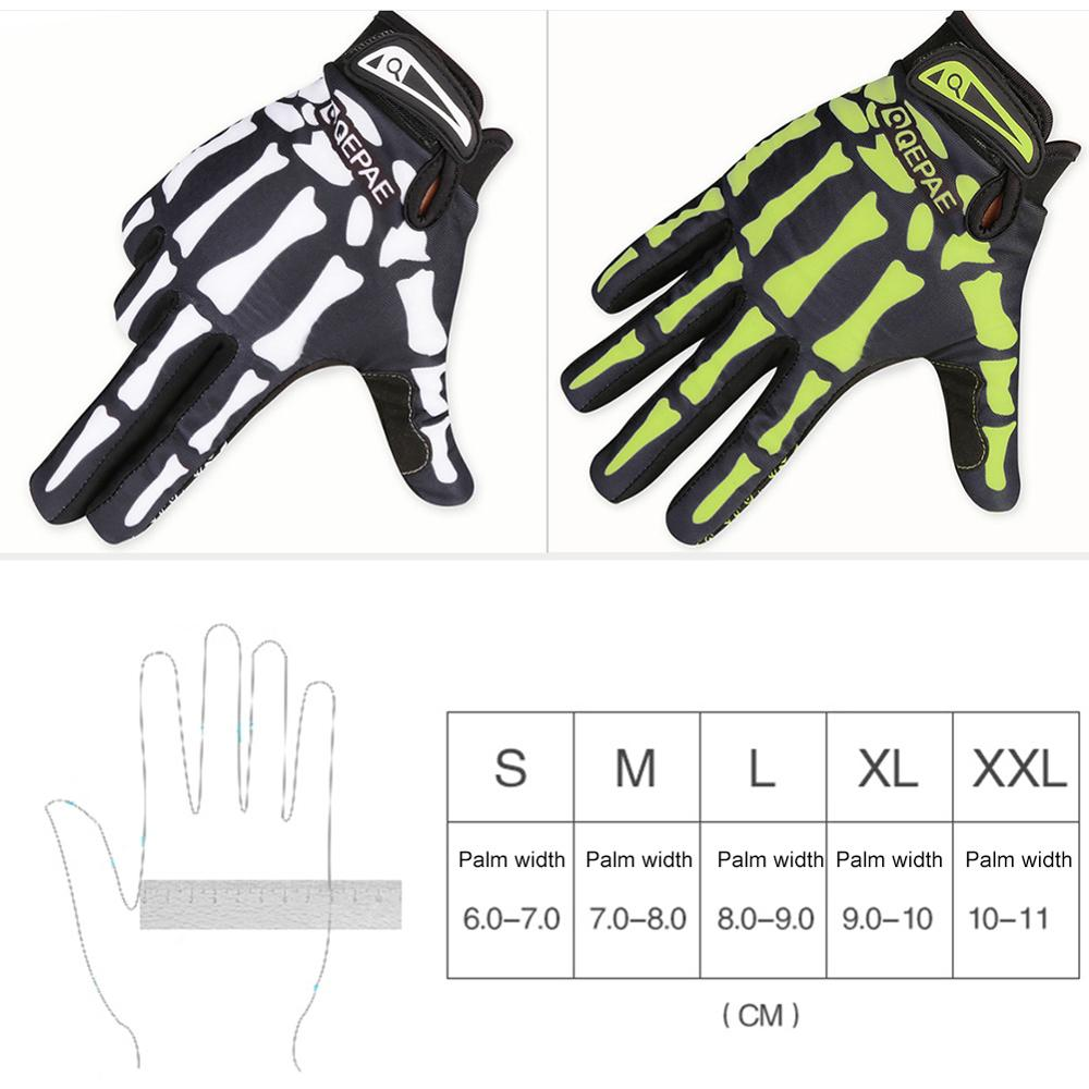 Riding Gloves Long Finger Warm Gloves Cycling Outdoor All Finger Skeleton Gloves 4
