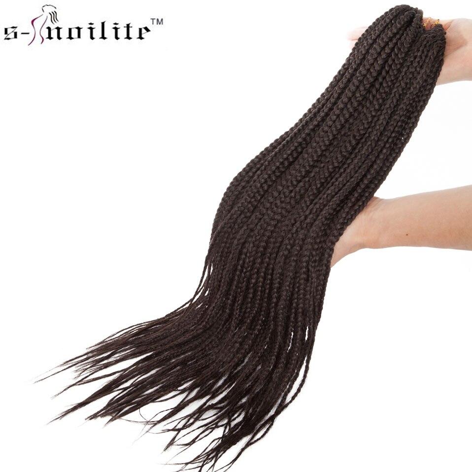 SNOILITE 24inch Crochet Box Braids Hair Extensions 24strands/pack Ombre Synthetic Braiding Hair Crochet Braids For Black Women