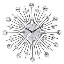 Винтажные настенные часы с металлическими кристаллами, большие современные настенные часы, дизайнерский домашний декор, 33 см, большой размер
