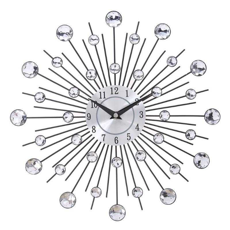 Wall-Clock Art-Decor Crystal Metal Vintage Large Design Home Morden Sunburst 33cm title=