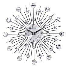 Vintage Metal Crystal Sunburst Wall Clock Large Morden Clocks Design Home Art Decor 33cm Size