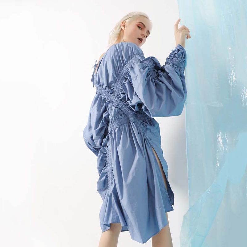 New Fashion Style Blue Pleated Drawstring Hem Vent Big Size Dress Fashion Nova Clothing