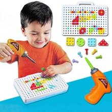 Детские игрушечные дрели, креативная развивающая игрушка, электрическая дрель, шурупы, головоломка, мальчик, собранный мозаичный дизайн, строительные игрушки, игрушка для ролевых игр