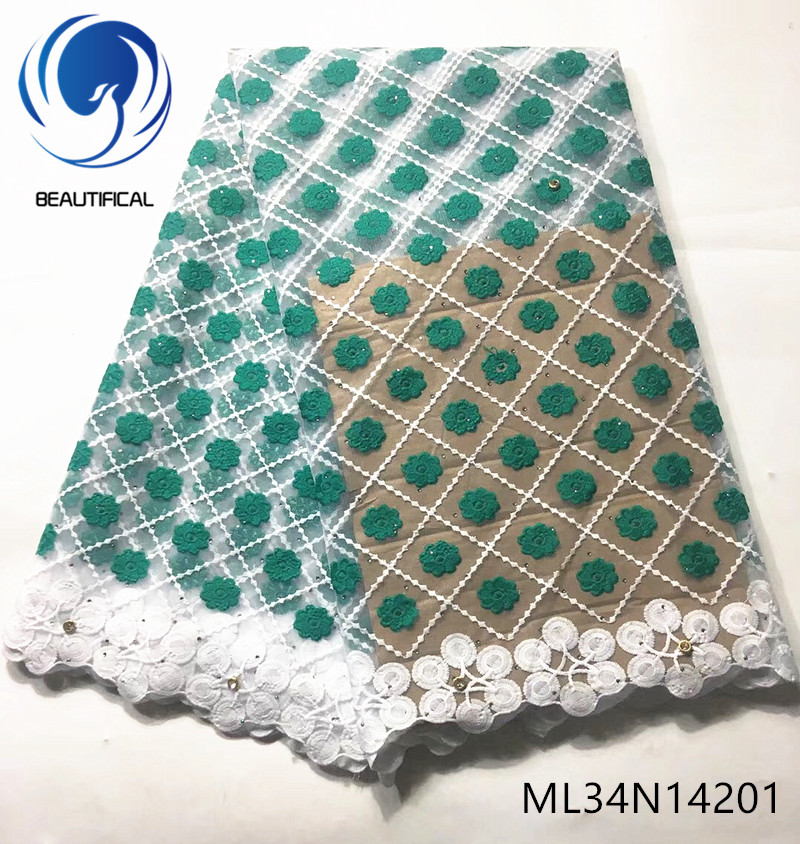 BEAUTIFICAL nigerian lace fabrics New arrival embroidery flowers net lace fabric for dress 5yards lace stones fabric ML34N142