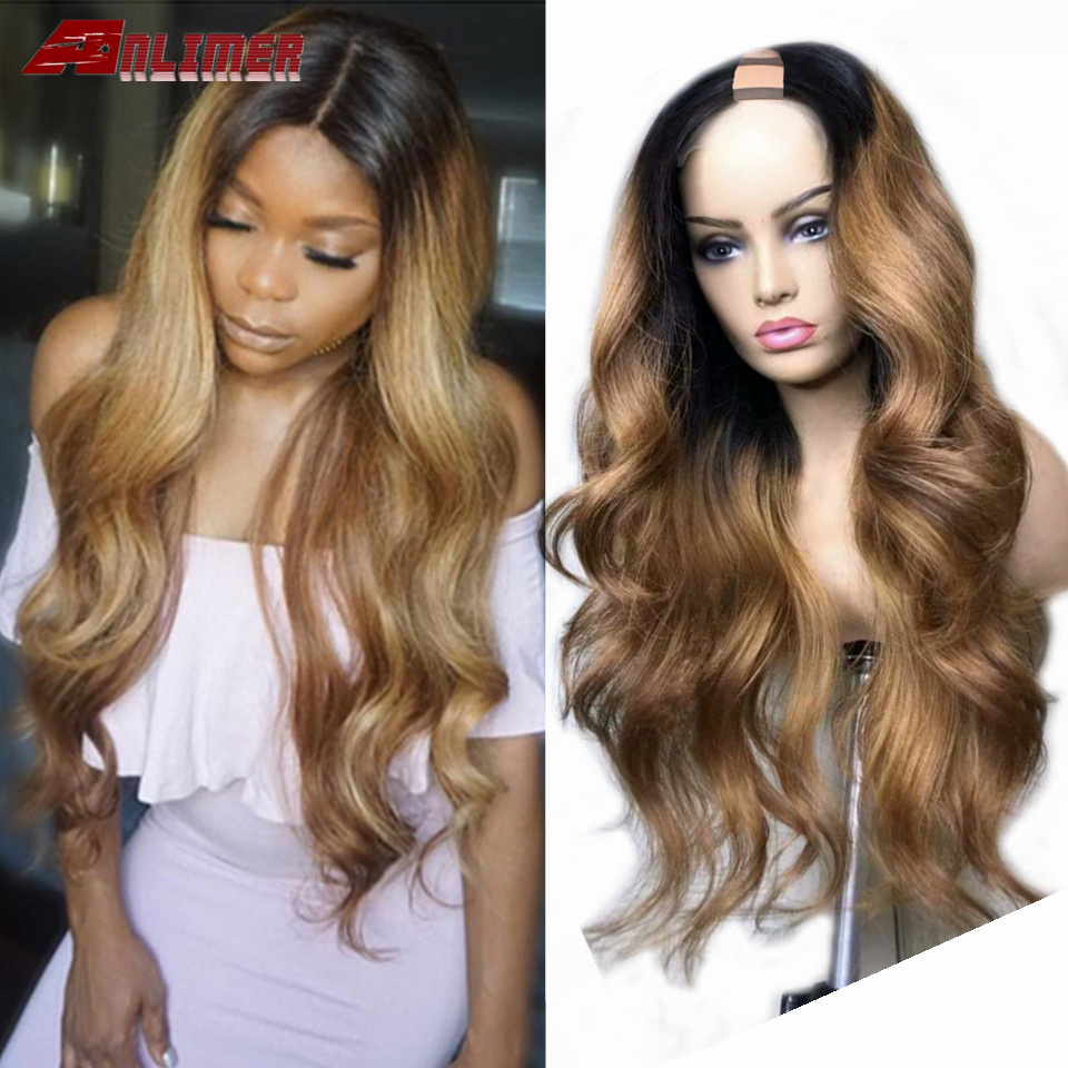 Объемные волнистые бразильские u-образные человеческие волосы, парики для черных женщин, Омбре, блонд, средняя часть, u-образные парики, пред...