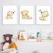 Wall Art Canvas Painting Kawaii Bear Nursery Poster Simple Print Nordic Kids Decorative Picture Baby Bedroom Decoration