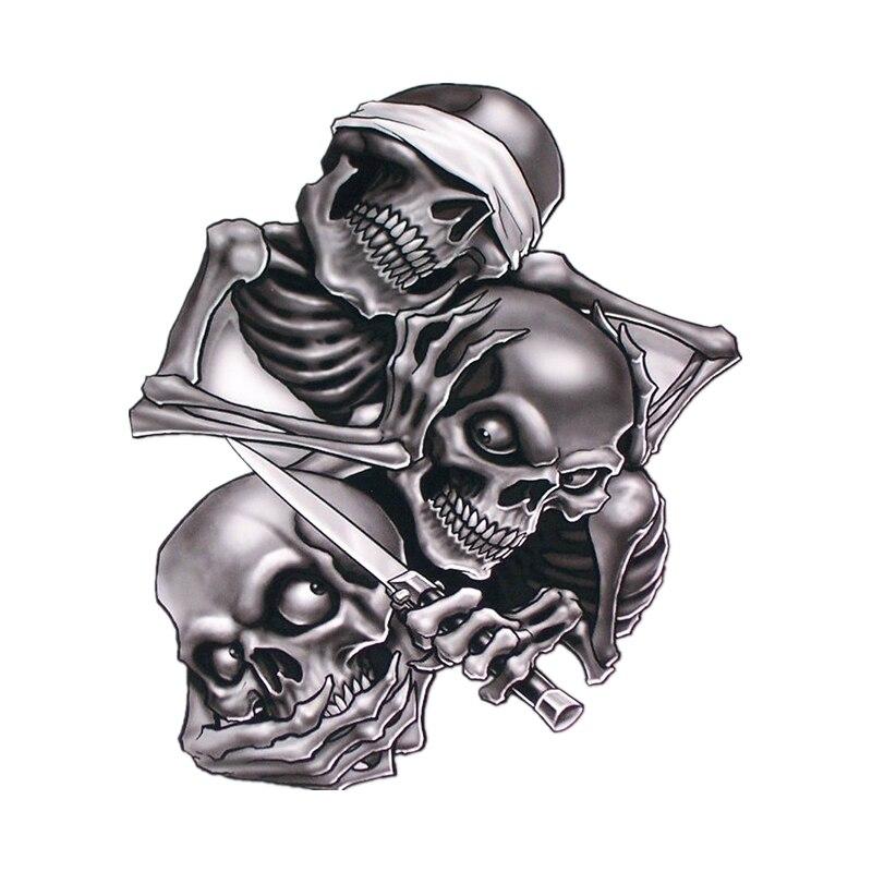 Car Sticker Funny Skull See Nothing Hear Nothing Say Nothing Hear Speak No Evil Auto Exterior Accessories PVC Decal,17cm*14.7cm Наклейки на автомобиль      АлиЭкспресс