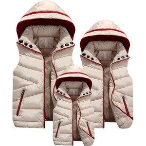 Image 3 - 부모 자식 일치하는 의상 후드 어린이 양복 조끼 면화 아기 소녀 소년 조끼 어린이 자켓 어린이 겉옷 100 180cm
