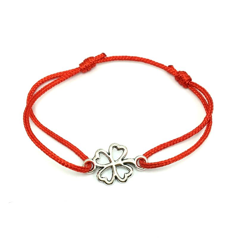2 шт браслет желаний из нержавеющей стали, регулируемый шнур, хороший браслет, приносящий удачу, красный браслет дружбы - Окраска металла: alloy clover