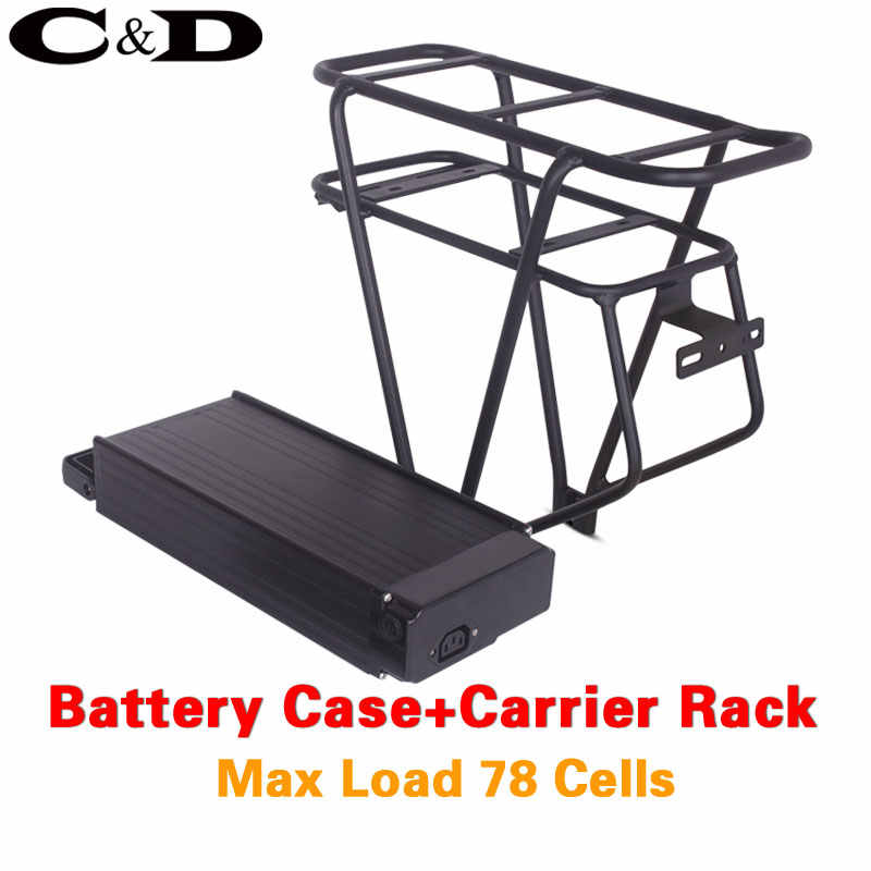 48V ebike battery case 36V 52V 60V Electric bike battery box And Double Layer luggage rack 10S7P 13S6P 14S5P 16S4P 26inch 700C