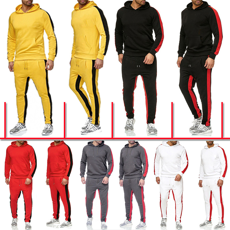 Mens Sports Jogging Wear Solid Color Suit Casual Hooded Sweater Pants Cotton Sweatshirt Suit