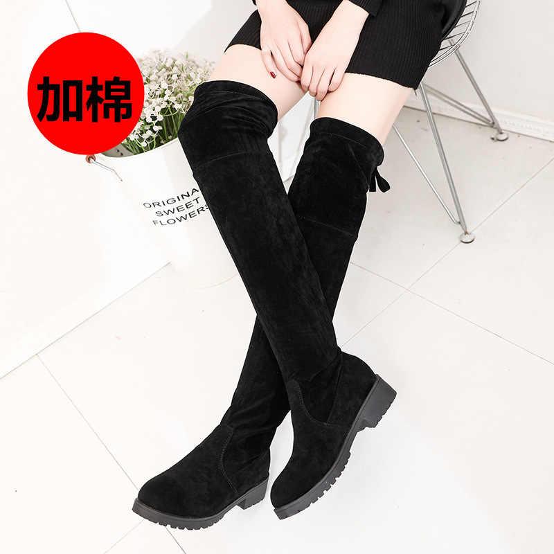 LZJ 2019 nữ Size 34-41 Thời Trang Mùa Đông Mới Đùi Cao Cấp Giày Giả Da Lộn Ấm Da Giày Cao Gót nữ Over-the-Đầu Gối Giày