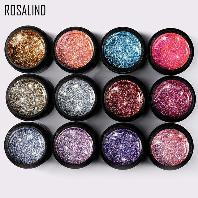 ROSALIND Manicure Set Gel Nail Polish Set 12PCS/LOT Rainbow Shiny Gel Glitter Acrylic Nail Kit Varnish All For Manicure Tools 3
