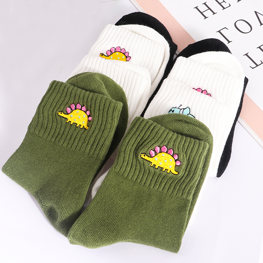 Women Harajuku Cotton Socks Cute Dinosaur Embroidery Funny Socks Women Men Korean Japanese CuteKawaii Socks