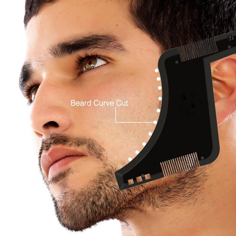 Professional Men Beard Shaping Styling Template Comb Transparent Men's Beards Combs Beauty Tool Hair Beard Trim Template TSLM1