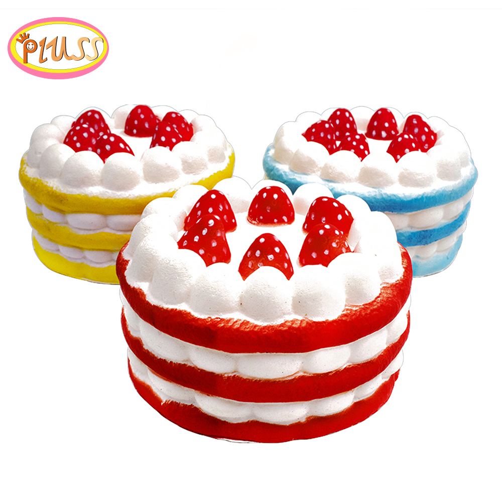 Squishy Toy Kawaii Jumbo Skuishy Toys Strawberry Cream Cake Squishies Slow Rising Cream Scented Stress Reliever Toy
