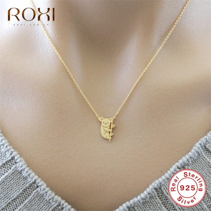 ROXI Cute <font><b>Koala</b></font> Necklace Australian <font><b>Koala</b></font> <font><b>Bear</b></font> Woodland Necklace Pendants Animal <font><b>Jewelry</b></font> 925 Sterling Silver Necklace Women Gift image