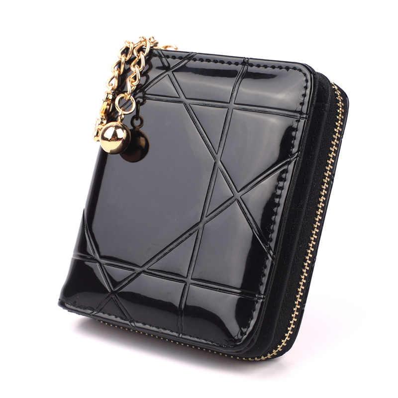 Nowe damskie krótkie portfele bifold PU skóra kobiet Plaid pieniądze torebki moda damska mały portfel z zamkiem kieszonka na monety czarny
