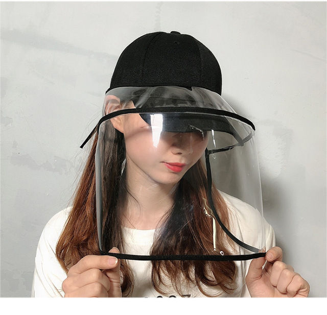 2020 Newest Collapsible Removable Protective Anti-saliva Dust-proof Hat Safety Full Face Shield Protection Caps with Clear Mask 1