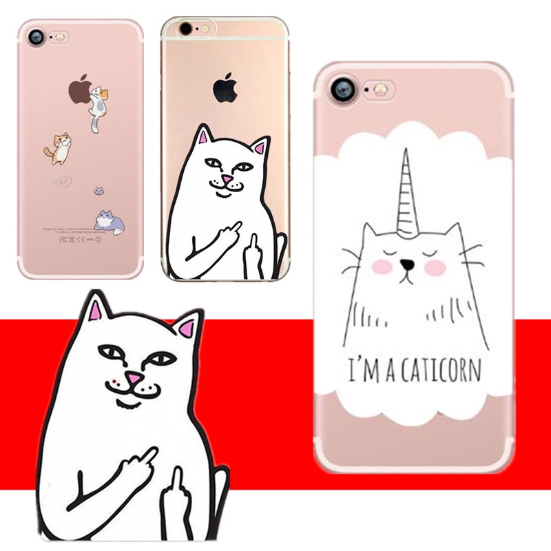 Middle Finger <font><b>Cat</b></font> <font><b>Case</b></font> For <font><b>iPhone</b></font> 6 S 7 <font><b>8</b></font> Plus 10 X 5 S SE Personality Soft Tpu Silicone Back Cover For Capinha Para <font><b>iPhone</b></font> 6 image