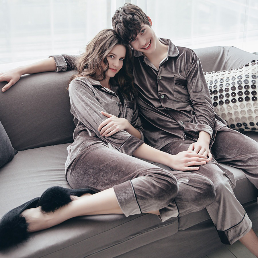 Autumn Winter Women Golden Velvet Pajamas Sets Warm Long Sleeves Pijama Homewear Thick Sleepwear Plus Size 4XL Pyjama 54