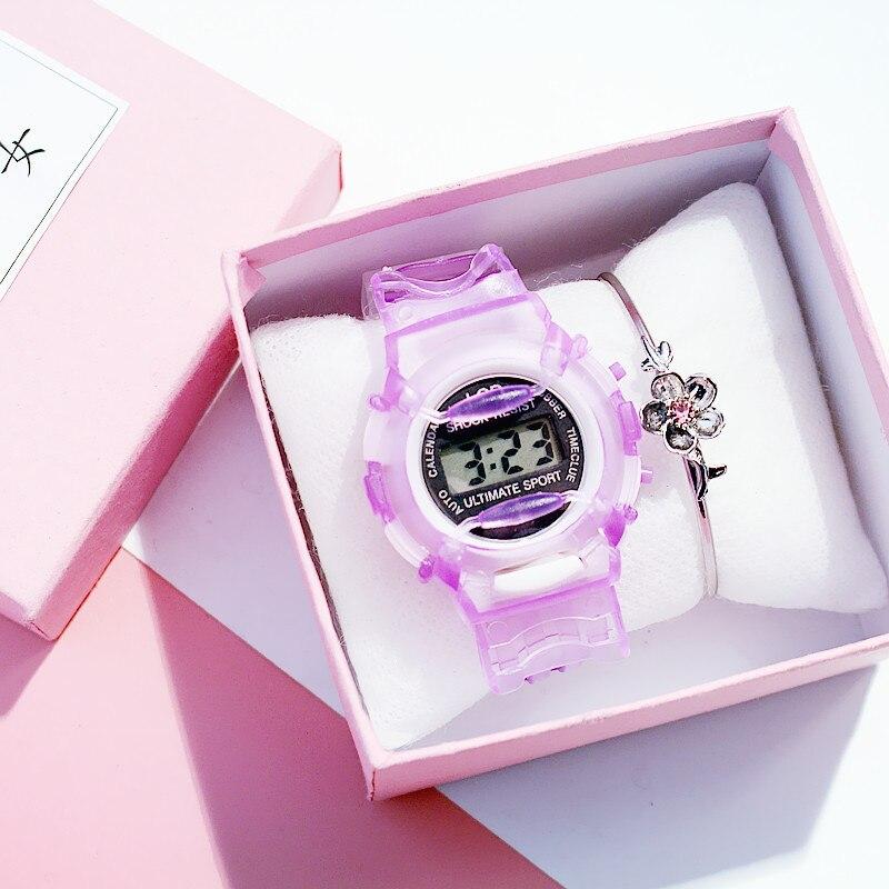 Transparent Silicone Strap Kid Watch Children Digital Waterproof Sport Ladies Watches Simple Girl Cherry Pink Clock Montre Fille
