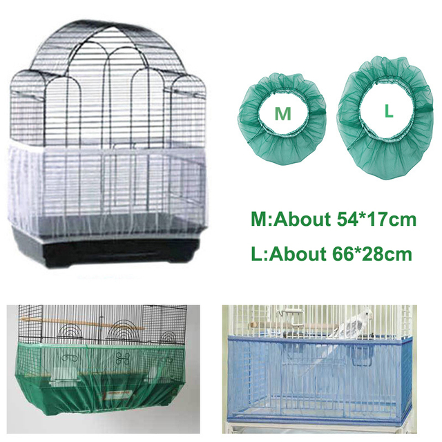 Receptor Seed Guard Nylon Mesh Bird Parrot Cover Soft Easy Cleaning Nylon Airy Fabric Mesh Bird Cage Cover Seed Catcher Guard 1