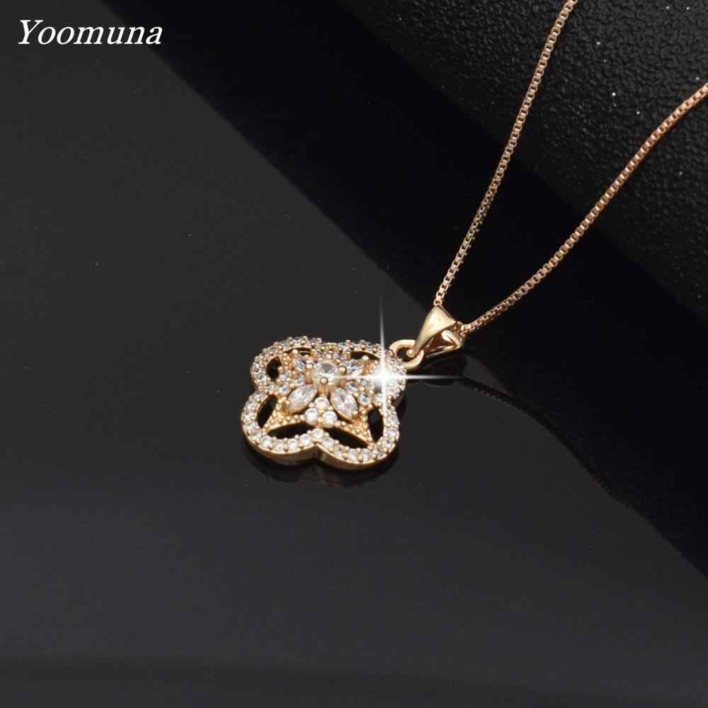 Necklace for women flower Rhinestone rhomb Crystal cubic Zircon Pendant choker Women rose gold Chain Necklace Jewelry 2019