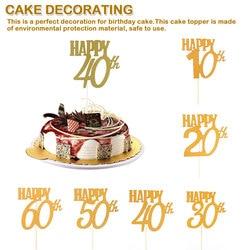 Юбилейный блеск торта Топпер 10/20/30/40/50/60th украшения для свадебного торта счастливые праздничные украшения для дня рождения