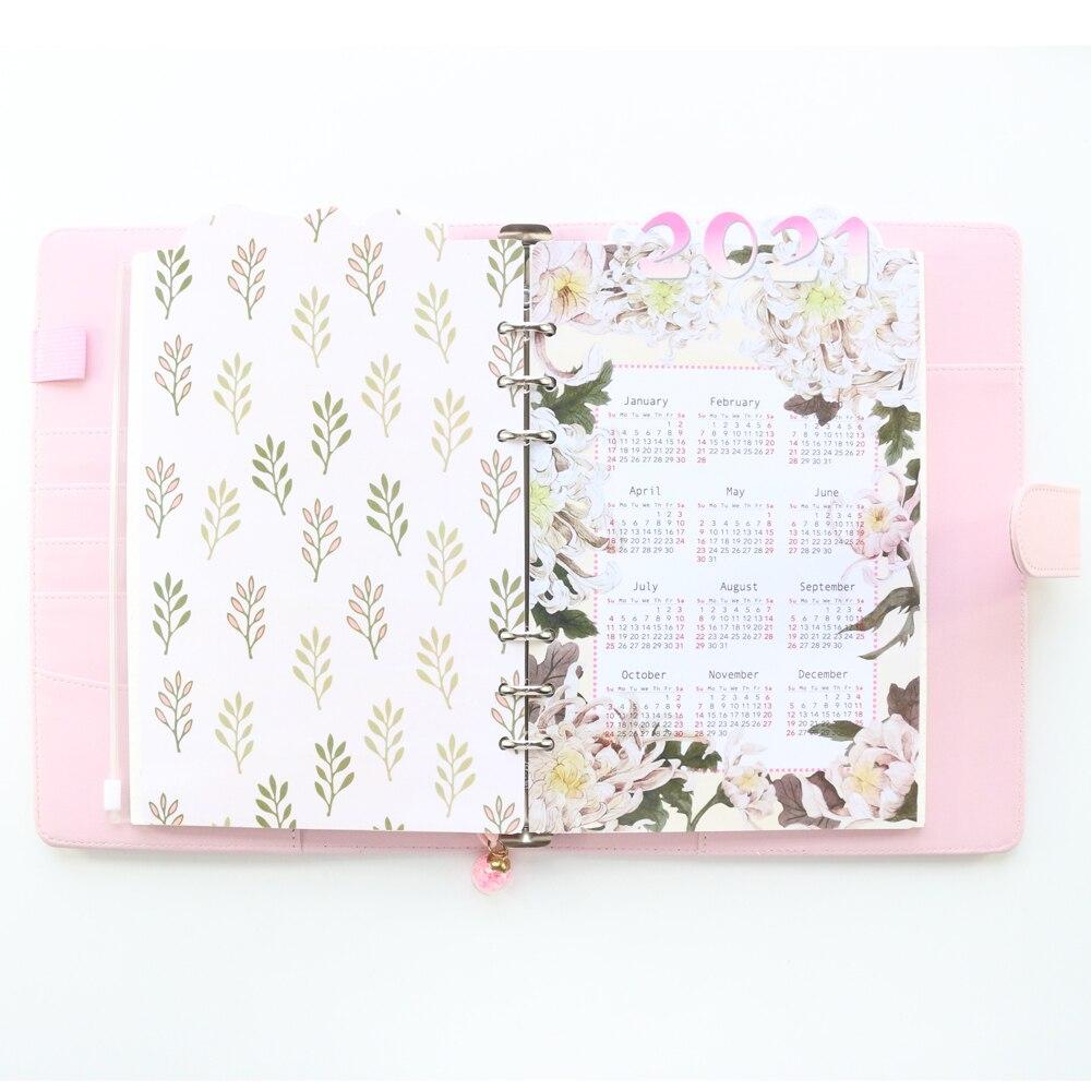 Domikee Designer original 2021 year calendar 6 holes paper index divider for loose-leaf binder planner spiral notebook A6A5