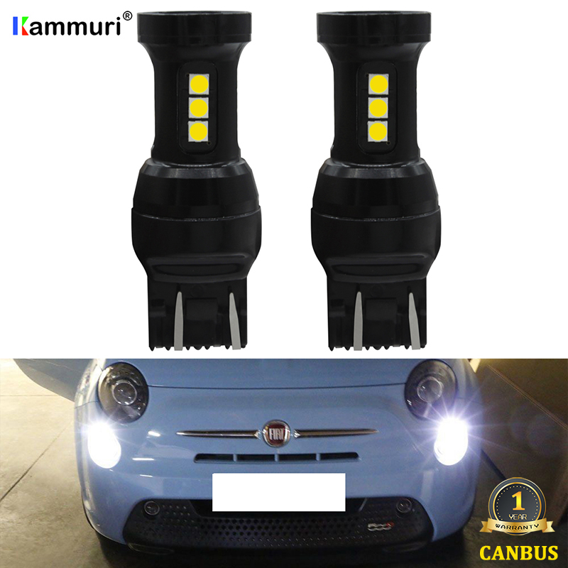 KAMMURI White W21/5W LED CANBUS No Error 7443 T20 W21 5W LED Bulb for 2009-2016 Fiat 500 led Day DRL Daytime Running Lights image