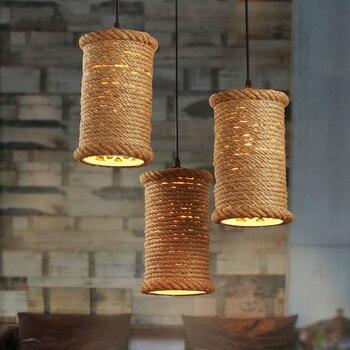 American Retro Pendant Light Iron Hemp Rope Lamp Loft Creative Restaurant Bar Coffee Table Hanging Home Decor Light Fixtures