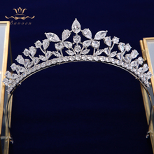 Fashion Full Zircon Bridal Tiaras Crowns Plated Crystal Wedding Hairbands For Brides Evening Hair Jewelry недорого