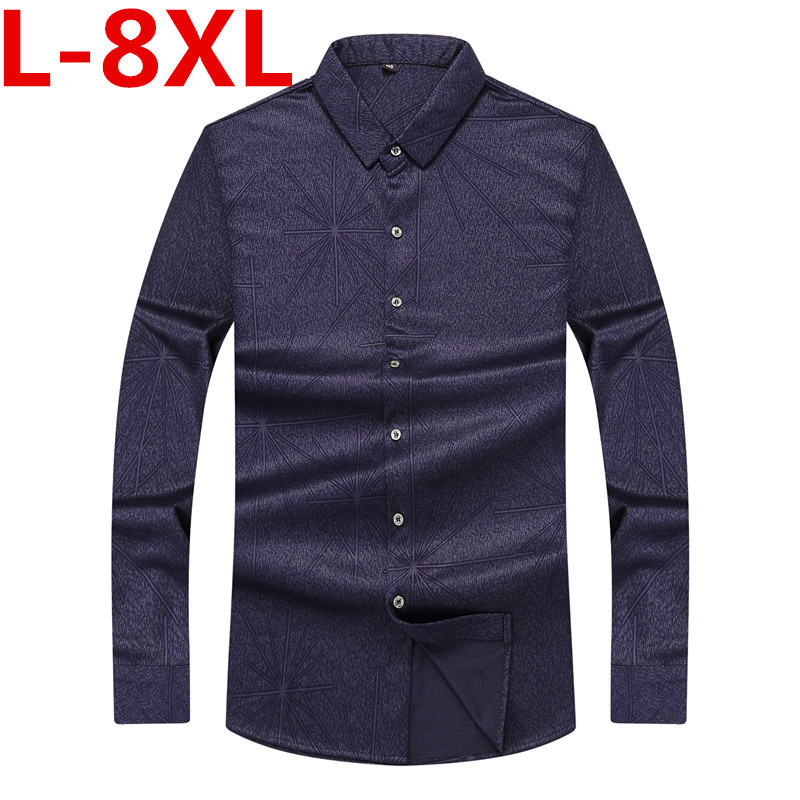 Big Size 8XL 7XL 6XL New Arrival  High Quality Classic Twill Business Men's Shirts Long Sleeve Turndown Collar Dress Shirt