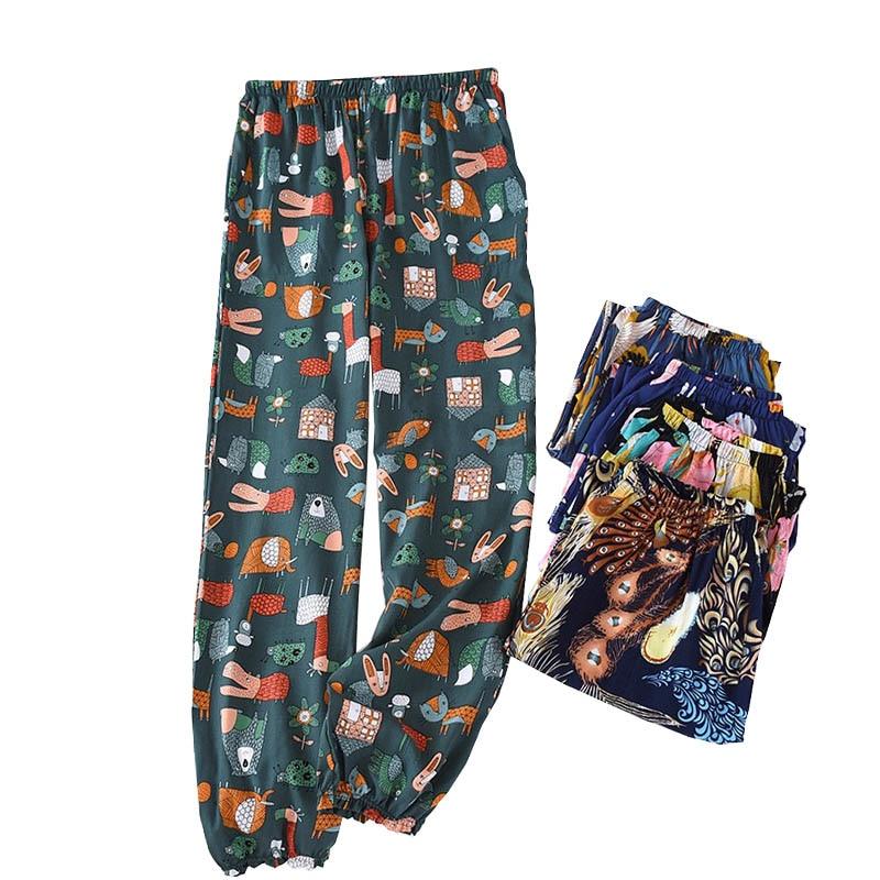 Spring  And Summer New Women Floral Sleep Bottoms Comfort Loose Cotton Satin Pants Elasticity Waist Ladies Large Homewear Pants