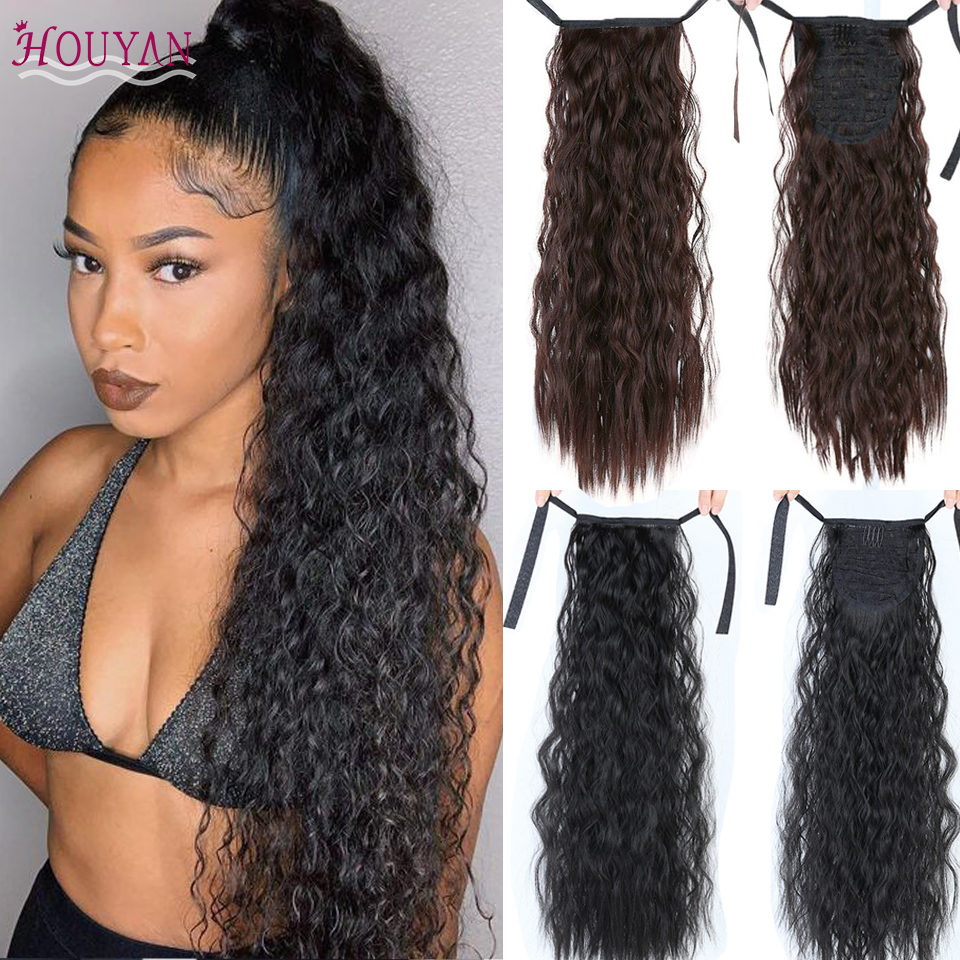 HOUYAN Long Corn Curly Long Ponytail Synthetic Hair Piece Ribbon Drawstring Clipped To Ponytail Hair Extension Wig