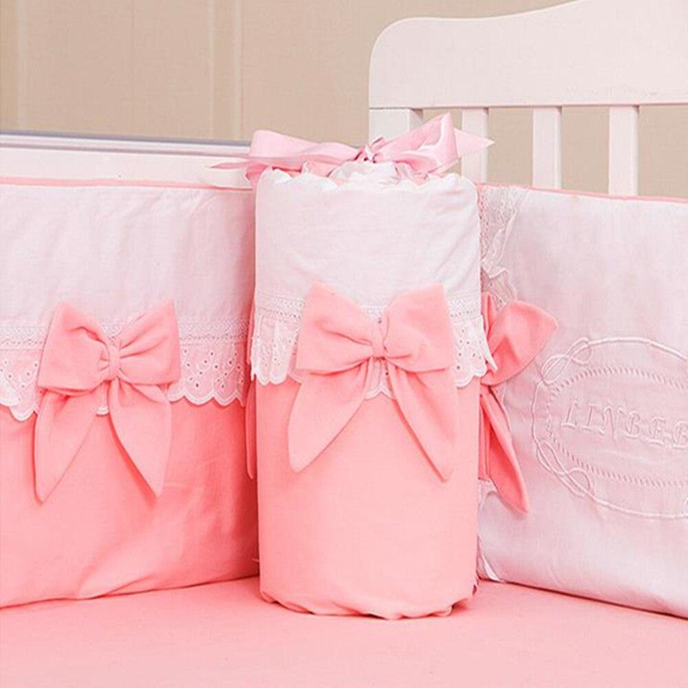 4Pcs Cotton Baby Bedding Set Bumper Romantic Bow Computer Embroidery Lace Newborn Crib Mattress Cover Cot Sheet For Boy