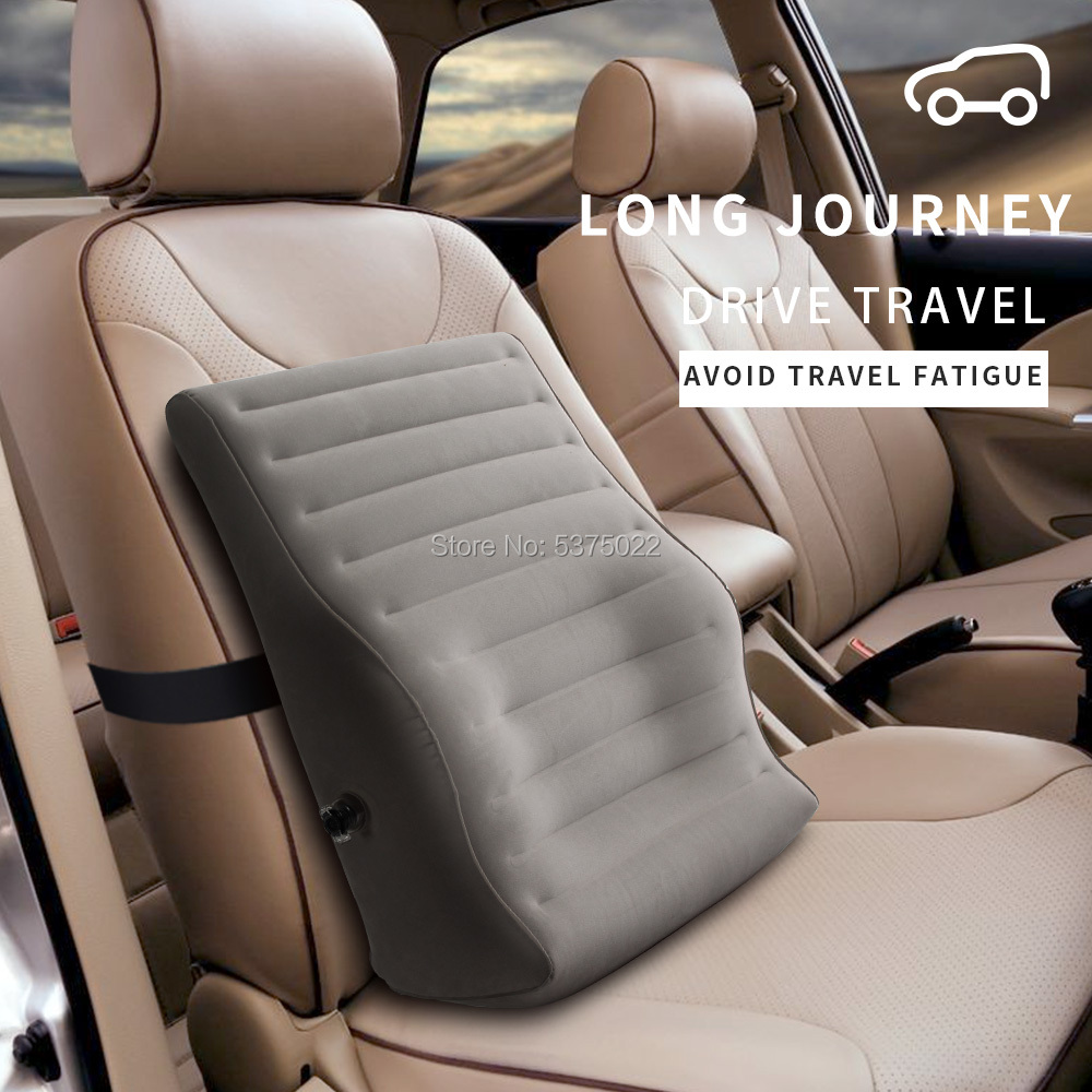 Inflatable Car Seat Pillow Lumbar Support Cushion Back Massager Waist Cushion For Chair Home Office Airplane Travel Relieve Pain image