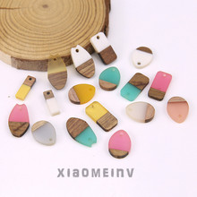 2pcs new design hot-sales personality wood and resin stitching irregular pendant earrings for woman material jewelry accessories