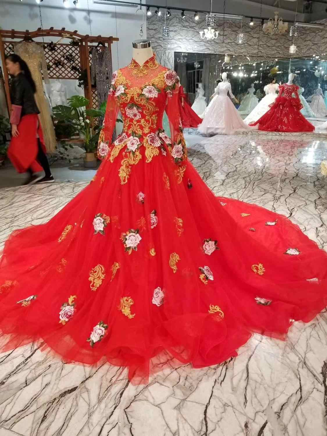 Alilove 2019 Ball Gown/High Neck/Red/Simple/New/Style/Big Size/Bridal/Sexy Wedding Dress With Sleeves/Lace/Women/Luxury