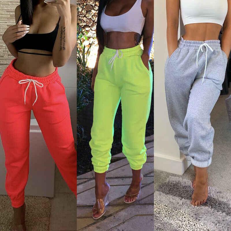 Pantalones De Chandal Informales Para Mujer Pantalon Holgado Para Correr Bailar Deportes Fitness Color Solido Pantalones Y Pantalones Capri Aliexpress